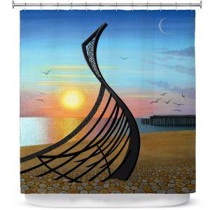 Premium Shower Curtains | Jennifer Baird - Boat Sculpture | still life beach ocean coast