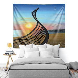 Artistic Wall Tapestry | Jennifer Baird - Boat Sculpture | still life beach ocean coast
