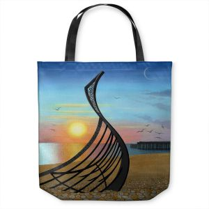 Unique Shoulder Bag Tote Bags | Jennifer Baird - Boat Sculpture | still life beach ocean coast