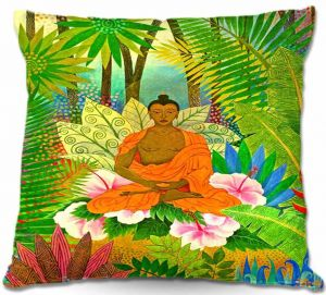 Decorative Outdoor Patio Pillow Cushion | Jennifer Baird - Buddha in the Jungle