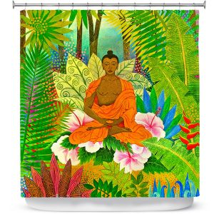 Premium Shower Curtains | Jennifer Baird Buddha in the Jungle