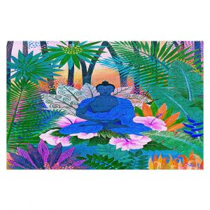 Decorative Floor Coverings | Jennifer Baird - Buddha In the Jungle ll | Buddha Jungle Nature Trees Flowers