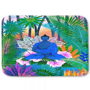 Decorative Bathroom Mats | Jennifer Baird - Buddha In the Jungle ll | Buddha Jungle Nature Trees Flowers
