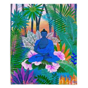 Decorative Fleece Throw Blankets | Jennifer Baird - Buddha In the Jungle ll | Buddha Jungle Nature Trees Flowers