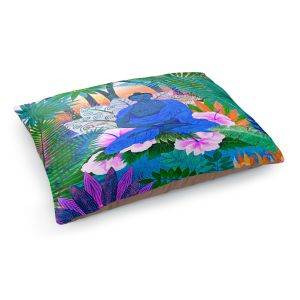 Decorative Dog Pet Beds | Jennifer Baird - Buddha In the Jungle ll | Buddha Jungle Nature Trees Flowers