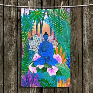 Unique Bathroom Towels   Jennifer Baird - Buddha In the Jungle ll   Buddha Jungle Nature Trees Flowers