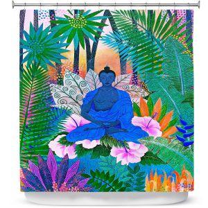 Premium Shower Curtains | Jennifer Baird - Buddha In the Jungle ll | Buddha Jungle Nature Trees Flowers