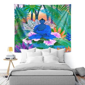 Artistic Wall Tapestry | Jennifer Baird - Buddha In the Jungle ll | Buddha Jungle Nature Trees Flowers