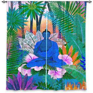 Decorative Window Treatments | Jennifer Baird - Buddha In the Jungle ll | Buddha Jungle Nature Trees Flowers