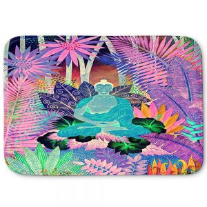 Decorative Bathroom Mats | Jennifer Baird - Buddha In the Jungle lll | Buddha Jungle Nature Trees Flowers