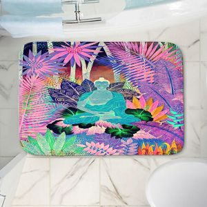 Decorative Bathroom Mats | Jennifer Baird - Buddha In the Jungle lll | Buddha Jungle Nature Trees Flowers