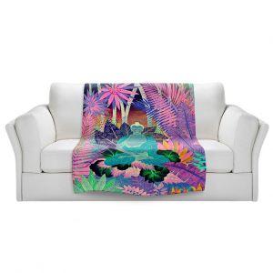 Artistic Sherpa Pile Blankets | Jennifer Baird - Buddha In the Jungle lll | Buddha Jungle Nature Trees Flowers