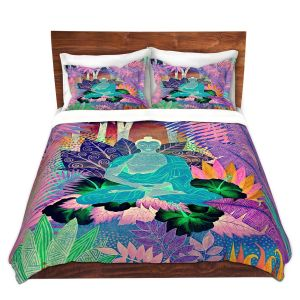 Artistic Duvet Covers and Shams Bedding | Jennifer Baird - Buddha In the Jungle lll | Buddha Jungle Nature Trees Flowers