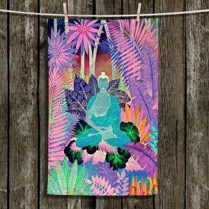 Unique Bathroom Towels | Jennifer Baird - Buddha In the Jungle lll | Buddha Jungle Nature Trees Flowers