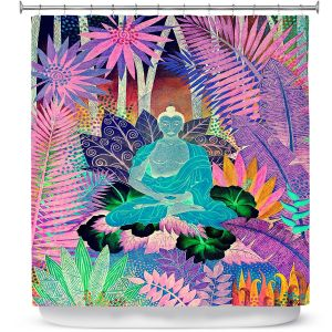 Premium Shower Curtains | Jennifer Baird - Buddha In the Jungle lll | Buddha Jungle Nature Trees Flowers