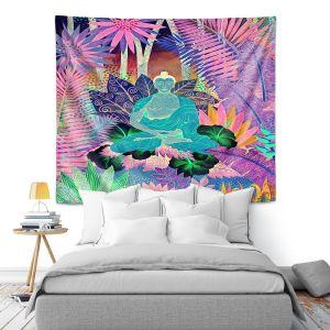 Artistic Wall Tapestry   Jennifer Baird - Buddha In the Jungle lll   Buddha Jungle Nature Trees Flowers