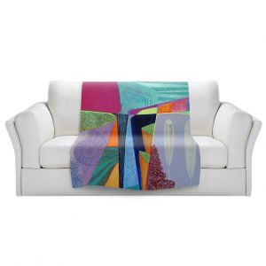 Artistic Sherpa Pile Blankets   Jennifer Baird - Deep Time 5   abstract surreal shapes