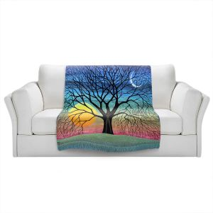 Artistic Sherpa Pile Blankets   Jennifer Baird - Dryad 2   Nature Trees Forest Sun Moon People
