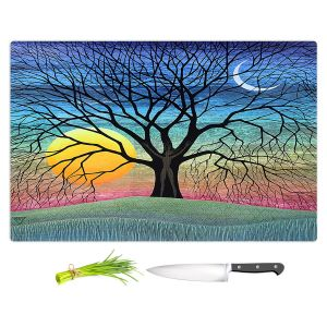 Artistic Kitchen Bar Cutting Boards | Jennifer Baird - Dryad 2 | Nature Trees Forest Sun Moon People