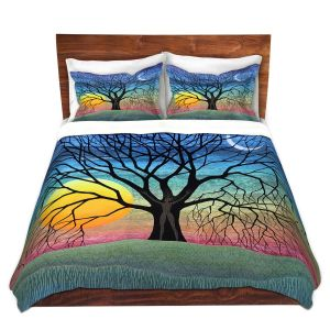 Artistic Duvet Covers and Shams Bedding | Jennifer Baird - Dryad 2 | Nature Trees Forest Sun Moon People