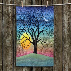 Unique Hanging Tea Towels | Jennifer Baird - Dryad 2 | Nature Trees Forest Sun Moon People