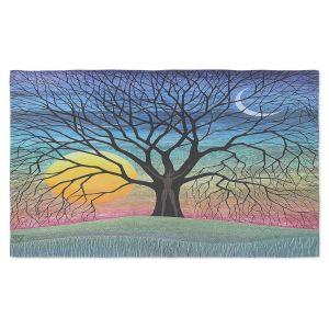 Artistic Pashmina Scarf | Jennifer Baird - Dryad 2 | Nature Trees Forest Sun Moon People