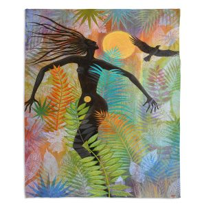 Artistic Sherpa Pile Blankets | Jennifer Baird - Eagle Woman 1 | silhouette abstract surreal nature