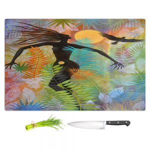 Artistic Kitchen Bar Cutting Boards | Jennifer Baird - Eagle Woman 1 | silhouette abstract surreal nature