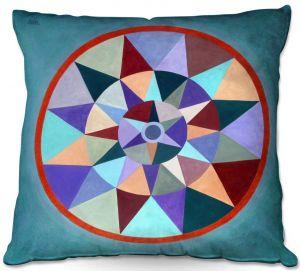 Throw Pillows Decorative Artistic | Jennifer Baird - Earth Mandala 2 | pattern geometric symmetry circle