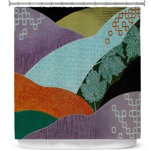 Premium Shower Curtains | Jennifer Baird - Enfolding | landscape abstract hills