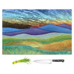 Artistic Kitchen Bar Cutting Boards | Jennifer Baird - Evening Glow 2 | landscape abstract hills mountains