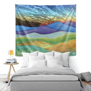 Artistic Wall Tapestry   Jennifer Baird - Evening Glow 2   landscape abstract hills mountains