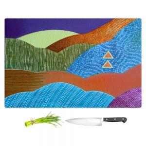 Artistic Kitchen Bar Cutting Boards | Jennifer Baird - Expansive Joy | landscape abstract hills mountains