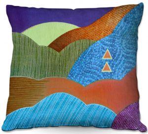 Decorative Outdoor Patio Pillow Cushion | Jennifer Baird - Expansive Joy | landscape abstract hills mountains