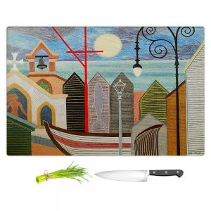 Artistic Kitchen Bar Cutting Boards | Jennifer Baird - Full Moon | town harbor boat city