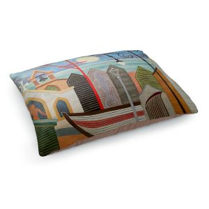 Decorative Dog Pet Beds | Jennifer Baird - Full Moon | town harbor boat city