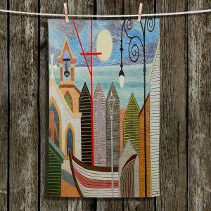 Unique Hanging Tea Towels | Jennifer Baird - Full Moon | town harbor boat city