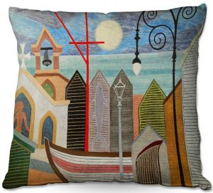 Throw Pillows Decorative Artistic   Jennifer Baird - Full Moon   town harbor boat city