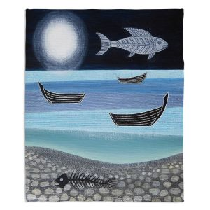 Decorative Fleece Throw Blankets | Jennifer Baird - Ghost Fish | nature water ocean sealife