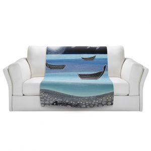 Artistic Sherpa Pile Blankets | Jennifer Baird - Ghost Fish | nature water ocean sealife
