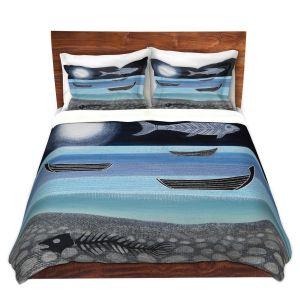 Artistic Duvet Covers and Shams Bedding | Jennifer Baird - Ghost Fish | nature water ocean sealife