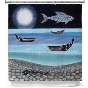 Premium Shower Curtains | Jennifer Baird - Ghost Fish | nature water ocean sealife