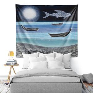 Artistic Wall Tapestry | Jennifer Baird - Ghost Fish | nature water ocean sealife