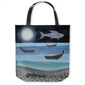 Unique Shoulder Bag Tote Bags | Jennifer Baird - Ghost Fish | nature water ocean sealife