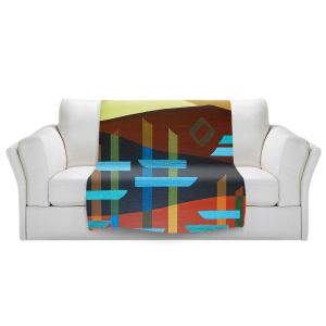 Artistic Sherpa Pile Blankets   Jennifer Baird - Glyphs 1   landmark abstract landscape