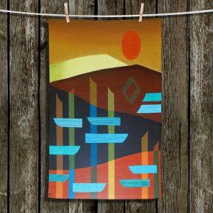 Unique Bathroom Towels | Jennifer Baird - Glyphs 1 | landmark abstract landscape