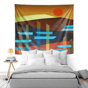 Artistic Wall Tapestry | Jennifer Baird - Glyphs 1 | landmark abstract landscape