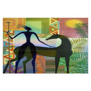 Decorative Floor Covering Mats | Jennifer Baird - Horse and Warrior | silhouette abstract animal human