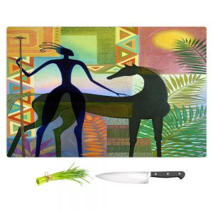 Artistic Kitchen Bar Cutting Boards | Jennifer Baird - Horse and Warrior | silhouette abstract animal human