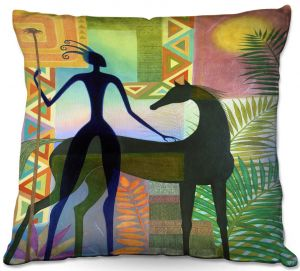 Decorative Outdoor Patio Pillow Cushion   Jennifer Baird - Horse and Warrior   silhouette abstract animal human